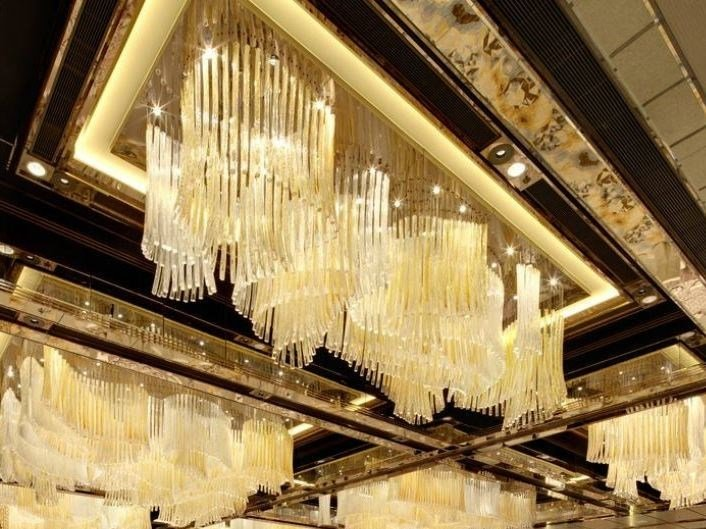 Indirect light blown glass chandelier DIAMOND SEA by Lasvit