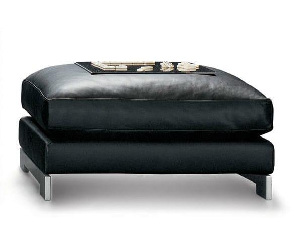Upholstered leather pouf REVERSI | Pouf by Molteni