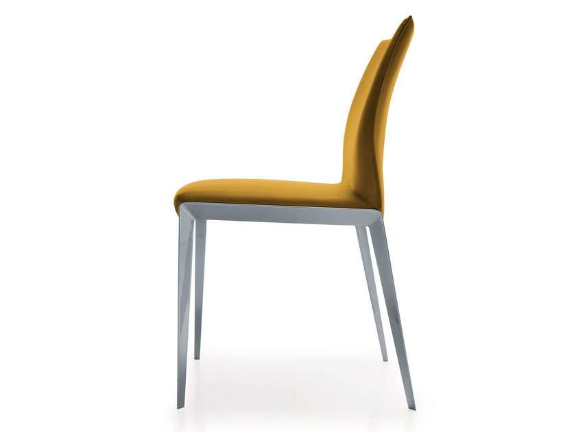 Upholstered leather chair with removable cover DART | Leather chair by Molteni