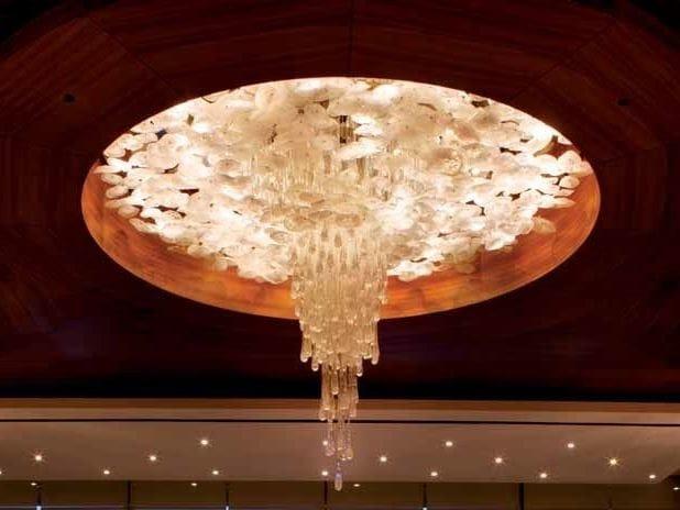 Indirect light opal glass chandelier BOUQUET by Lasvit