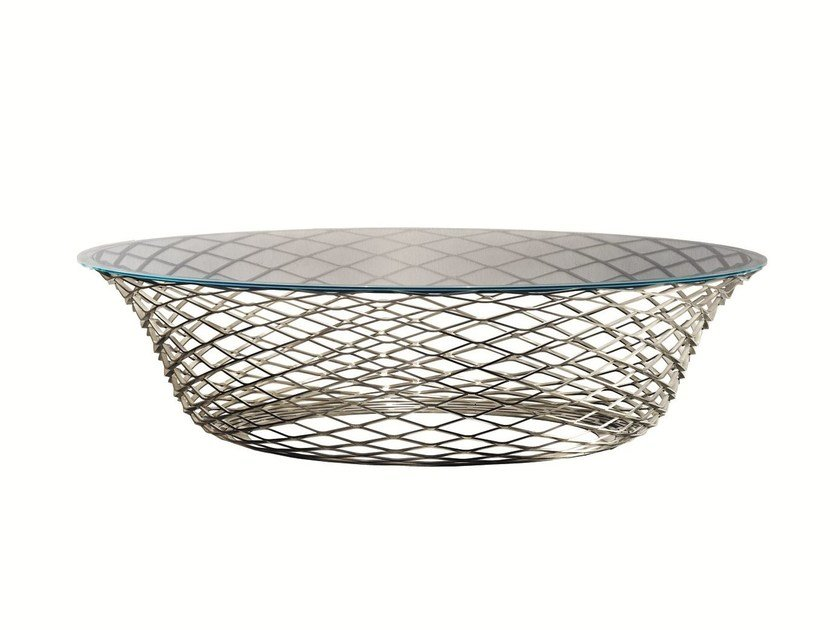 Round Glass and Stainless Steel coffee table TESO by Molteni&C