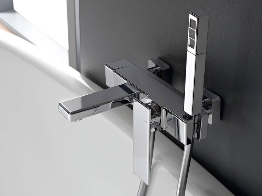 Wall-mounted chrome-plated bathtub mixer with hand shower TOSCANO by ZAZZERI
