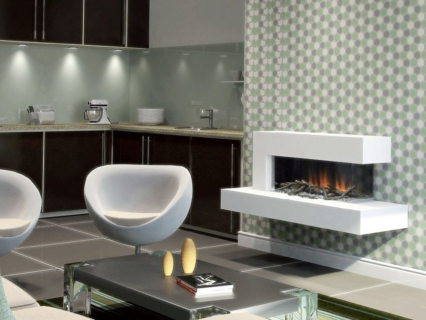 Wall-mounted electric fireplace with panoramic glass VISTA SUITE by BRITISH FIRES
