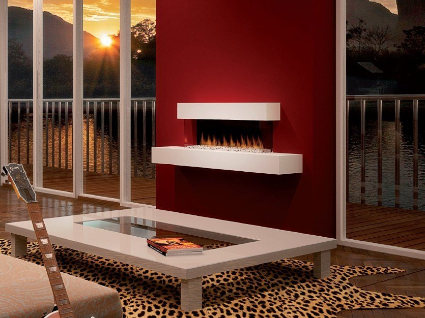 Wall-mounted electric fireplace with panoramic glass PANORAMA SUITE by BRITISH FIRES