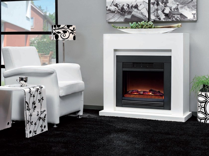 Wall-mounted electric fireplace with panoramic glass EVITA SUITE by BRITISH FIRES