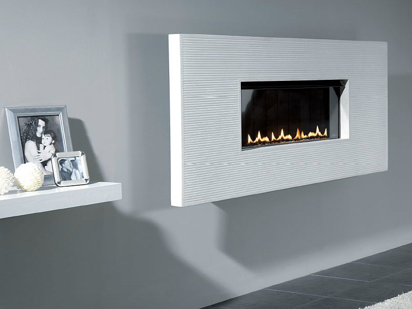 Gas hanging wall-mounted fireplace FISSURE 60 by BRITISH FIRES