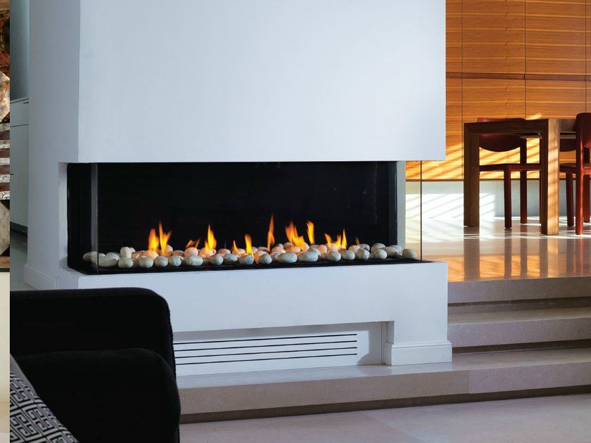 Gas fireplace with panoramic glass PANORAMA 110 by BRITISH FIRES