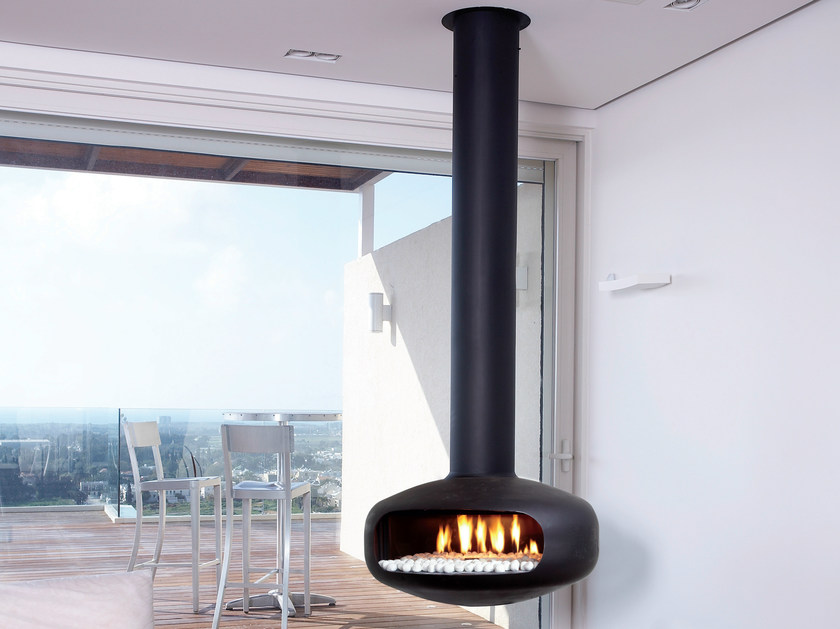 Gas hanging fireplace with panoramic glass OVAL by BRITISH FIRES