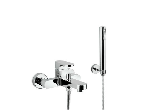 3 hole wall-mounted bathtub tap with hand shower X-LIGHT | 3 hole bathtub tap by newform