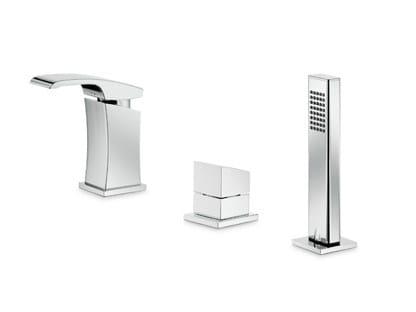 3 hole single handle bathtub mixer with hand shower X-SENSE | 3 hole bathtub set by newform