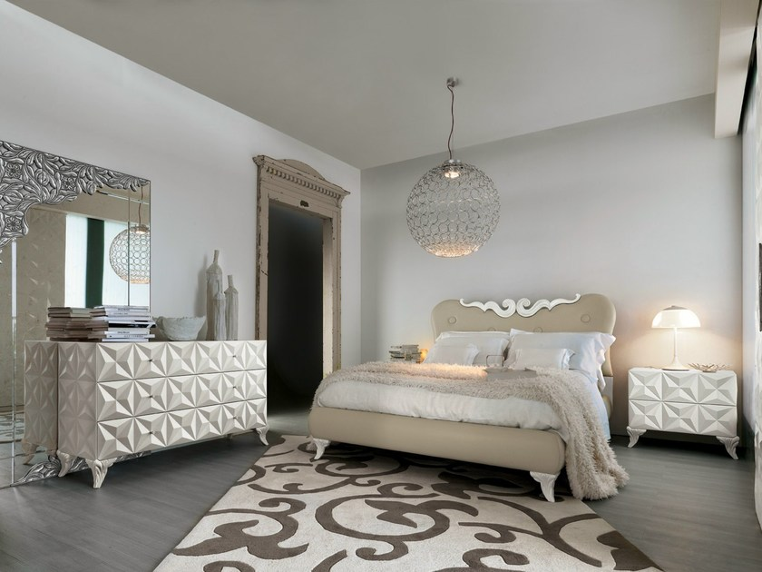 Leather double bed with upholstered headboard PENELOPE | Bed by Bizzotto
