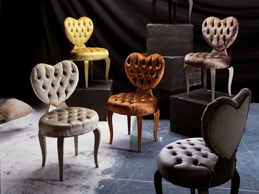 Tufted velvet chair HEART by Bizzotto