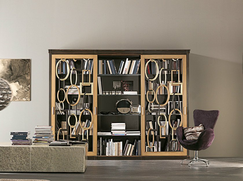 Wall-mounted wooden bookcase AUDREY by Bizzotto