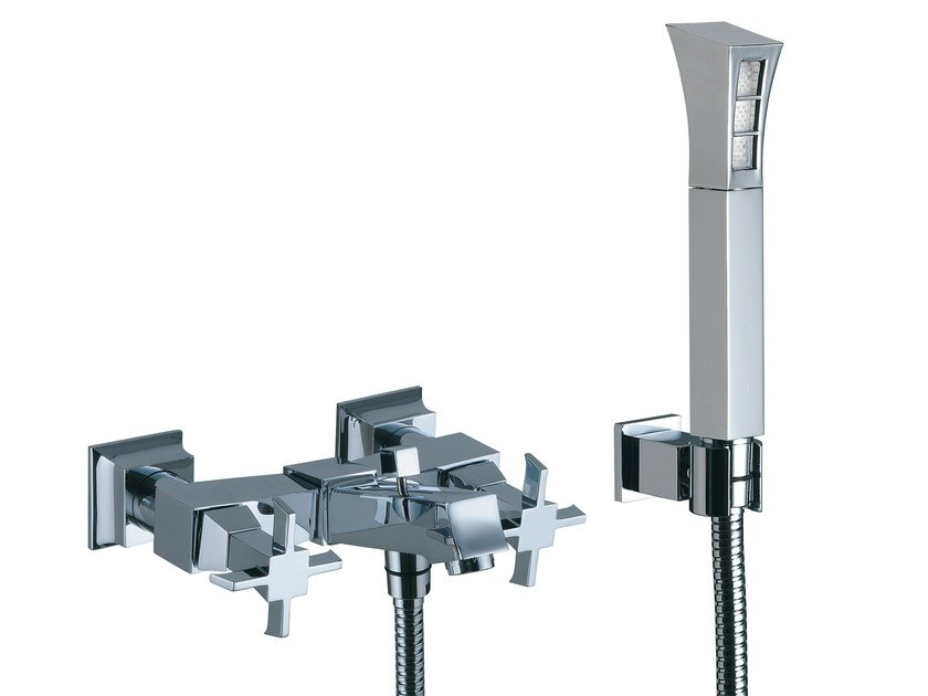 Wall-mounted bathtub tap with hand shower BRIDGE | Bathtub tap with hand shower by Rubinetterie 3M