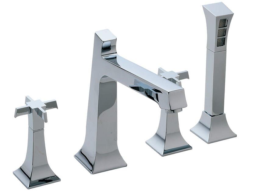 4 hole bathtub set with hand shower BRIDGE | 4 hole bathtub set by Rubinetterie 3M