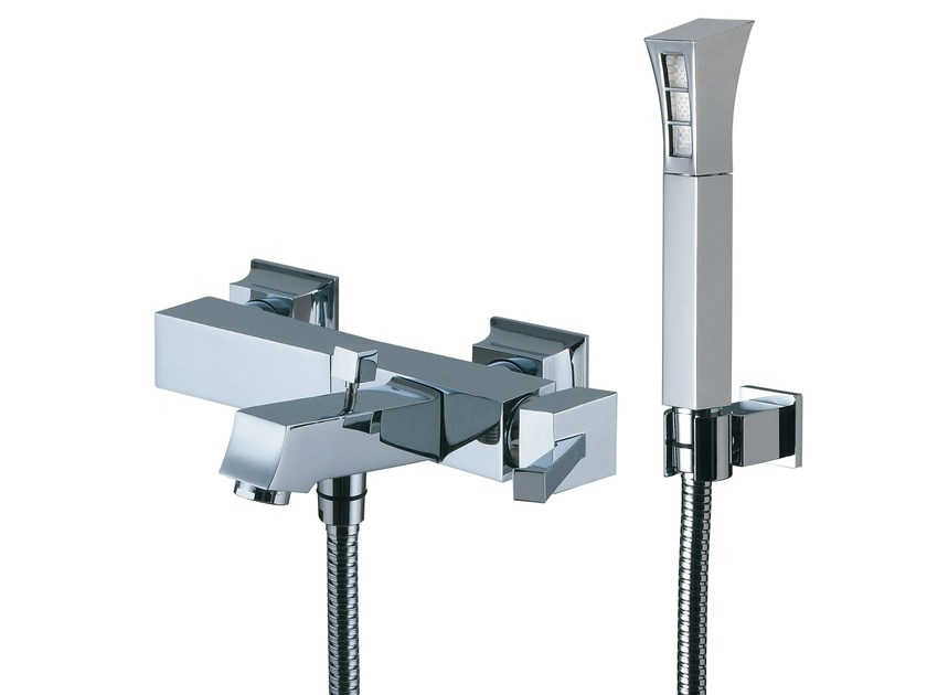 Wall-mounted bathtub mixer with hand shower BRIDGE_MONO | Bathtub mixer by Rubinetterie 3M