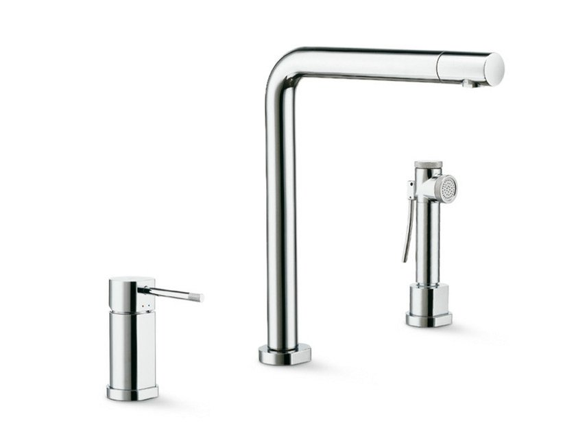 3 hole kitchen mixer tap with swivel spout with spray MOONY | 3 hole kitchen mixer tap by newform