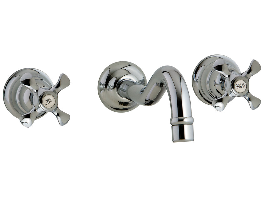 3 hole wall-mounted washbasin tap NUOVA RETRÒ | Wall-mounted washbasin tap by Rubinetterie 3M