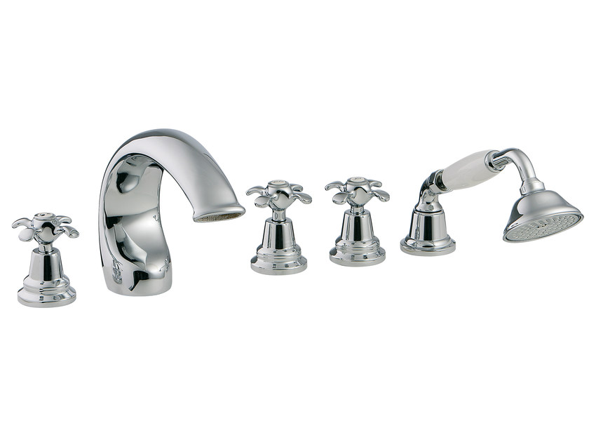 5 hole bathtub set with hand shower NUOVA RETRÒ | 5 hole bathtub set by Rubinetterie 3M