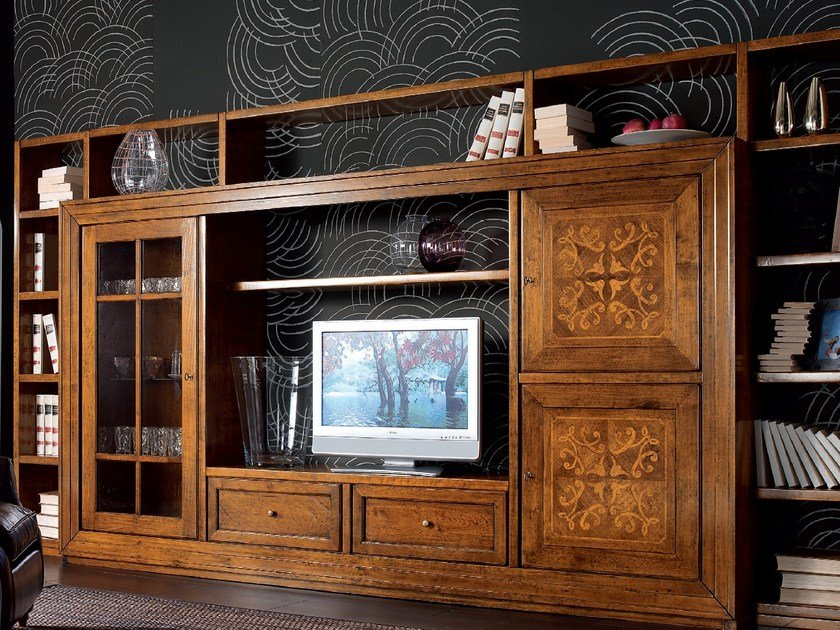 Sectional wooden storage wall CA' VENIER   Wooden storage wall by Cantiero