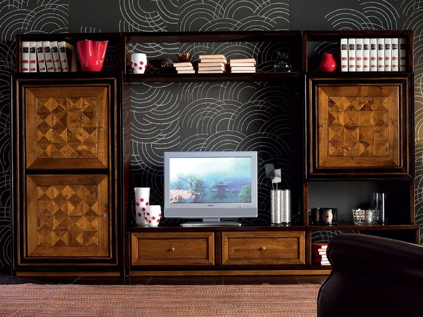 Sectional wooden storage wall CA' VENIER | Wooden storage wall by Cantiero
