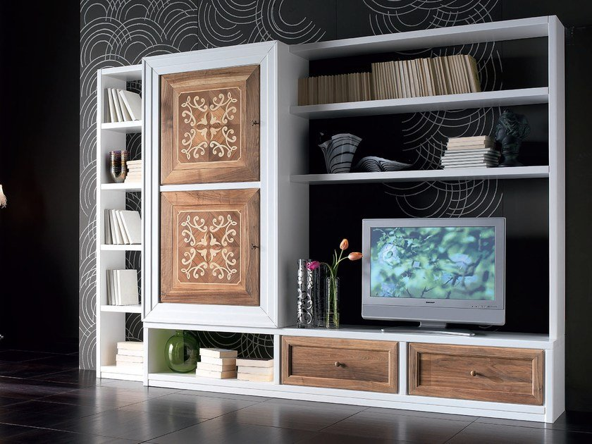 Sectional wooden storage wall CA' VENIER | Storage wall by Cantiero