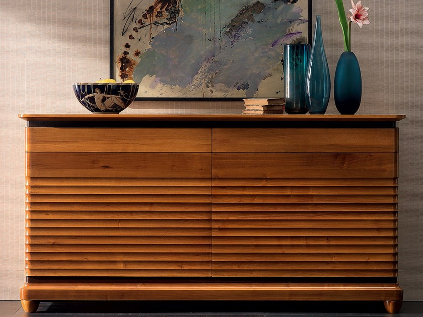 Walnut sideboard with doors with drawers ELETTRA DAY | Solid wood sideboard by Cantiero
