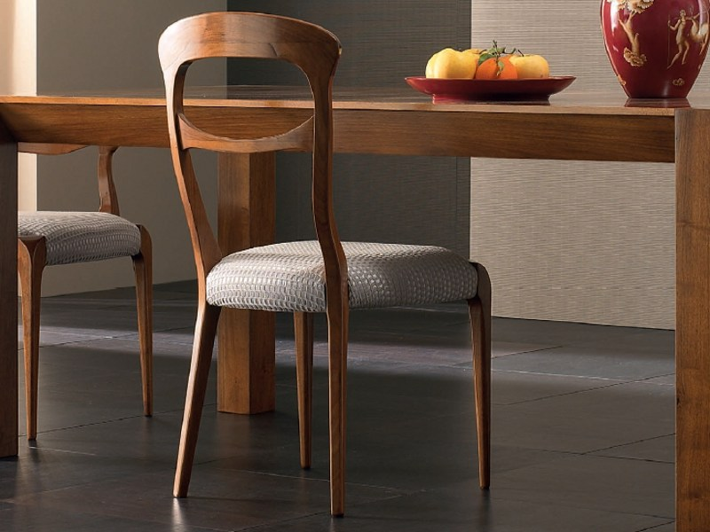 Upholstered wooden chair ELETTRA DAY   Walnut chair by Cantiero