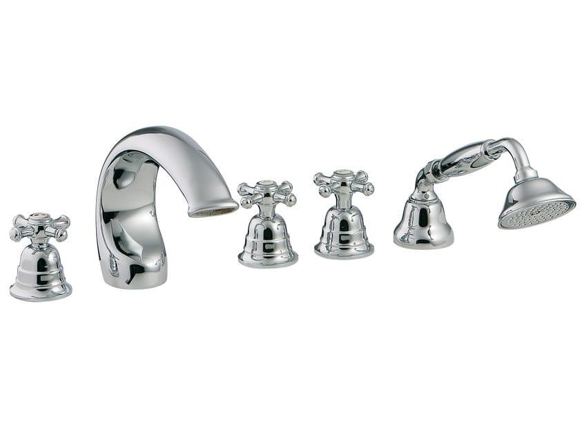5 hole bathtub set with hand shower OLD ITALY | 5 hole bathtub set by Rubinetterie 3M