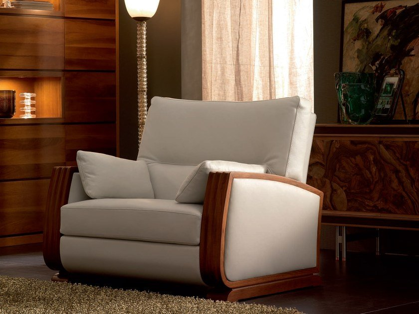 Upholstered solid wood armchair with armrests ELETTRA DAY | Armchair by Cantiero