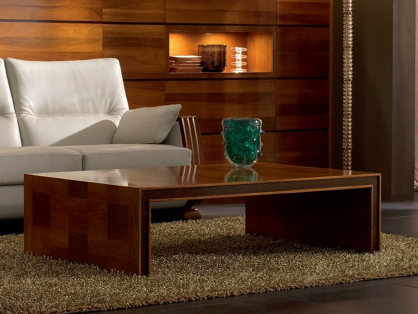 Low rectangular solid wood coffee table ELETTRA DAY | Coffee table by Cantiero