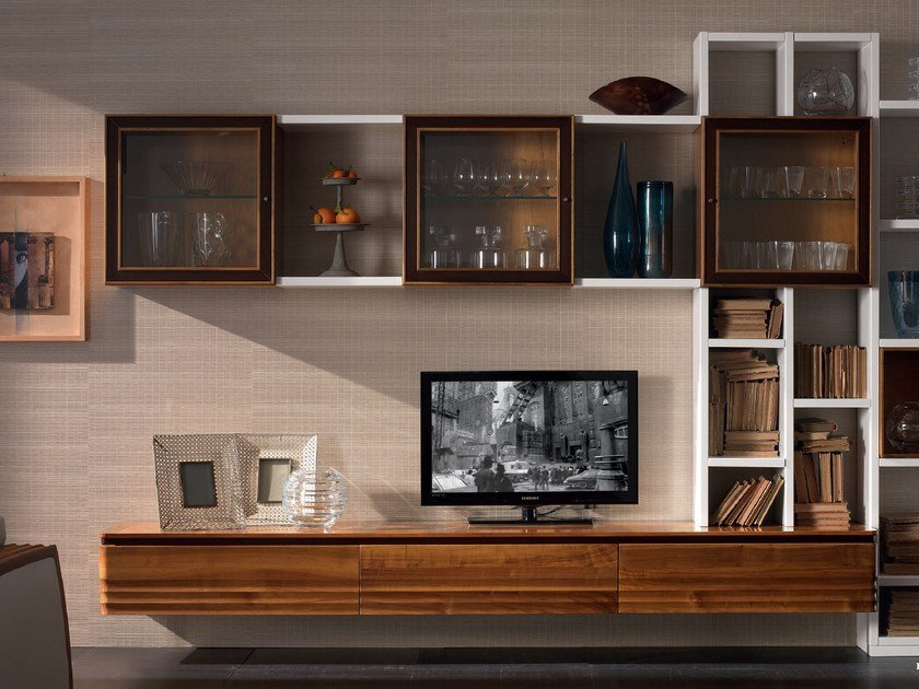 Sectional solid wood storage wall ELETTRA DAY | Sectional storage wall by Cantiero