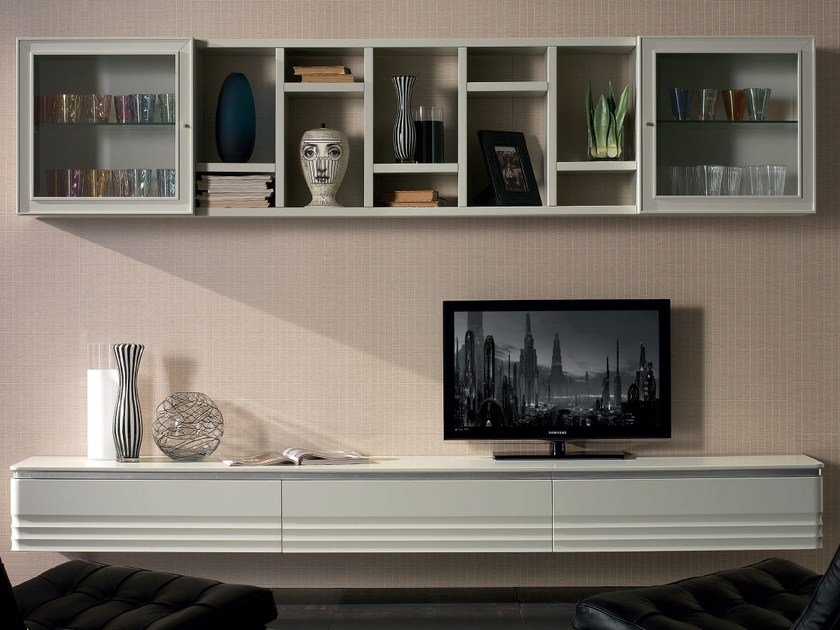 Sectional solid wood storage wall ELETTRA DAY | Wooden storage wall by Cantiero