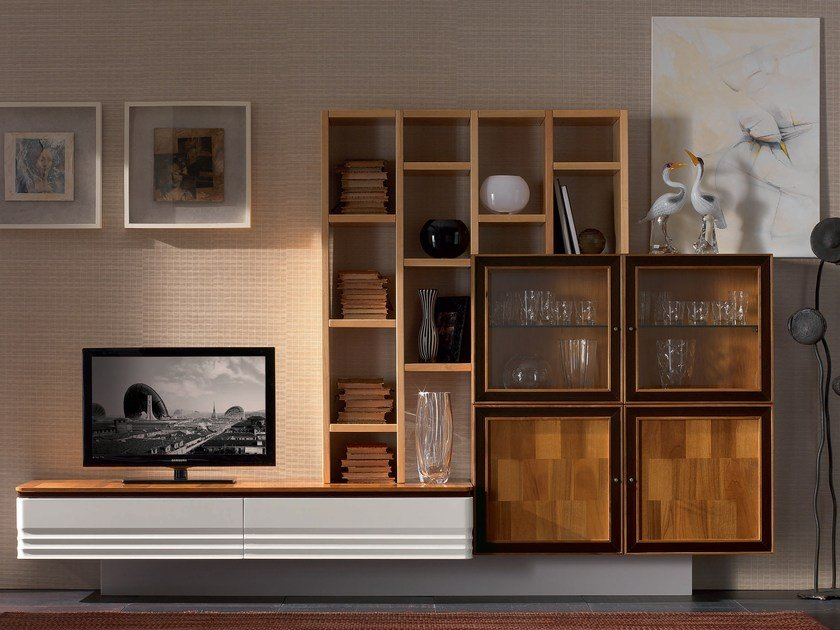 Sectional solid wood storage wall ELETTRA DAY | Solid wood storage wall by Cantiero