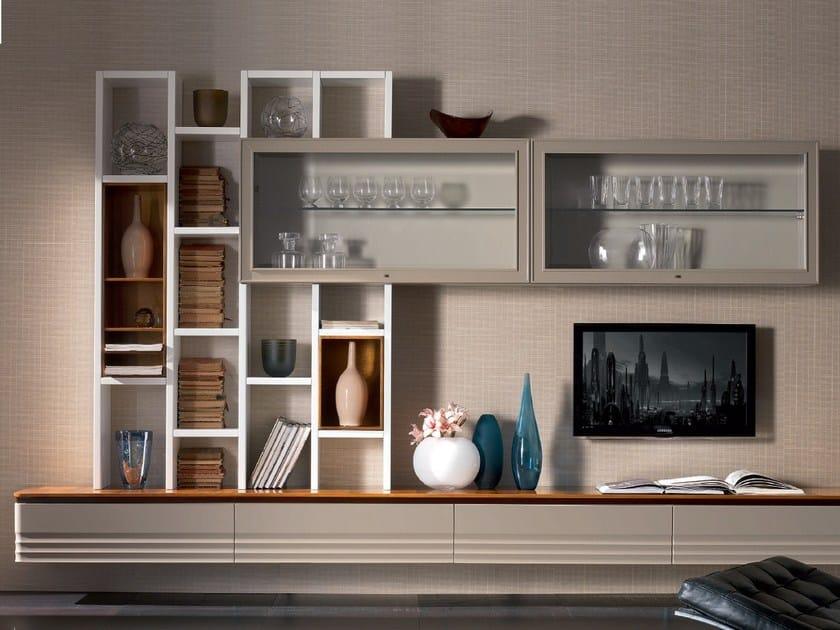 Sectional solid wood storage wall ELETTRA DAY | Walnut storage wall by Cantiero