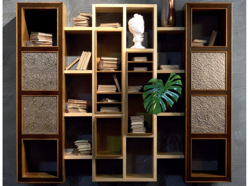 Wall-mounted sectional floating solid wood bookcase ELETTRA DAY | Bookcase by Cantiero