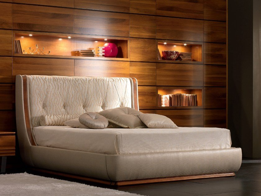 Fabric storage bed with upholstered headboard ELETTRA NIGHT | Bed with upholstered headboard by Cantiero
