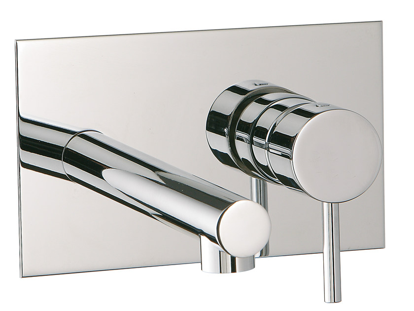 Wall-mounted washbasin mixer with plate VELA | Washbasin mixer with plate by Rubinetterie 3M