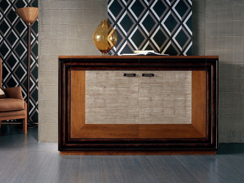 Silver leaf sideboard with doors with drawers ÉTOILE DAY   Silver leaf sideboard by Cantiero