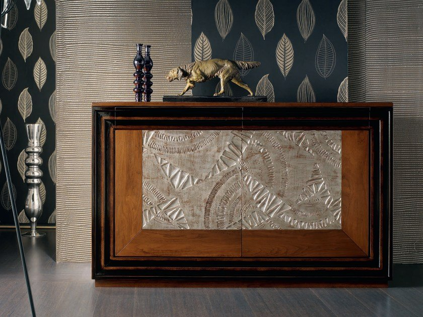 Silver leaf sideboard with doors ÉTOILE DAY | Silver leaf sideboard by Cantiero