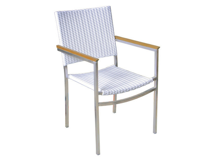 Stackable garden chair with armrests CENTENARY | Polyethylene garden chair by Il Giardino di Legno
