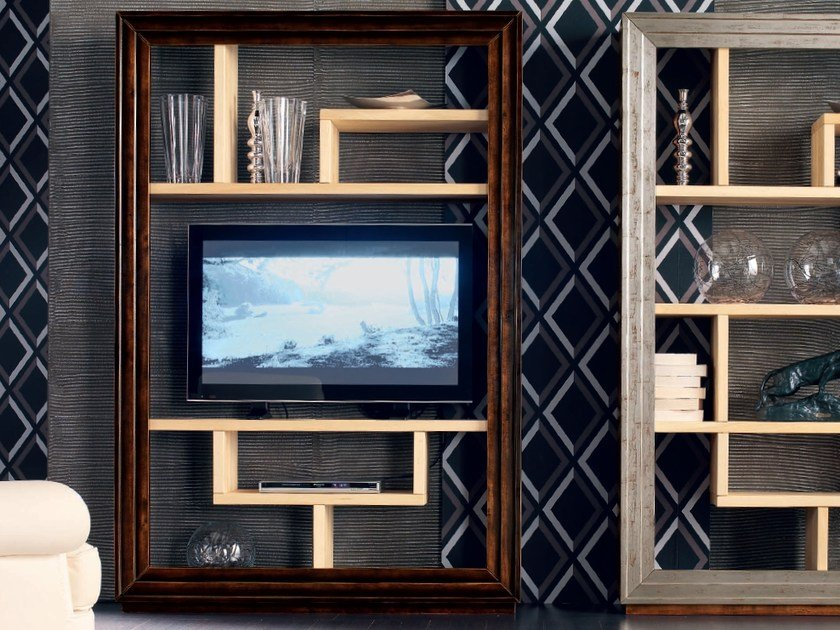Wall-mounted solid wood TV wall system ÉTOILE DAY | Bookcase by Cantiero