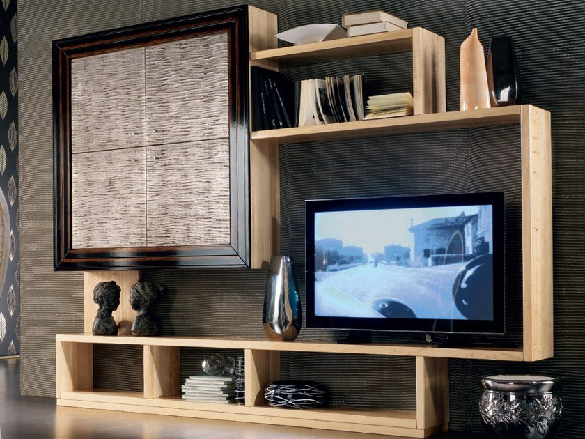 Sectional silver leaf storage wall ÉTOILE DAY | Silver leaf storage wall by Cantiero