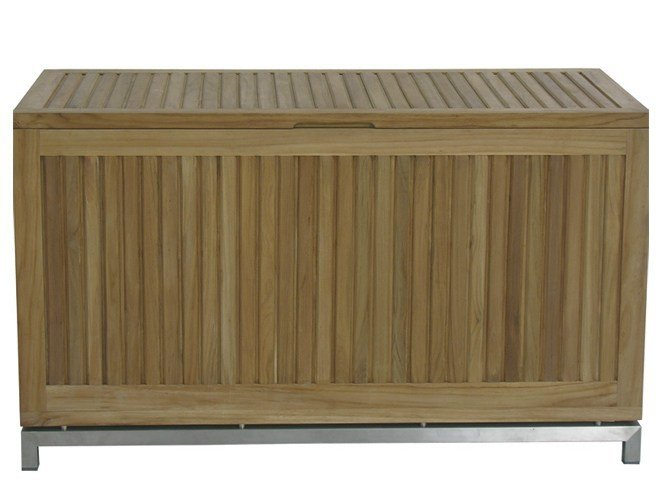 Wooden garden bench with storage space VICKY | Wooden garden bench by Il Giardino di Legno