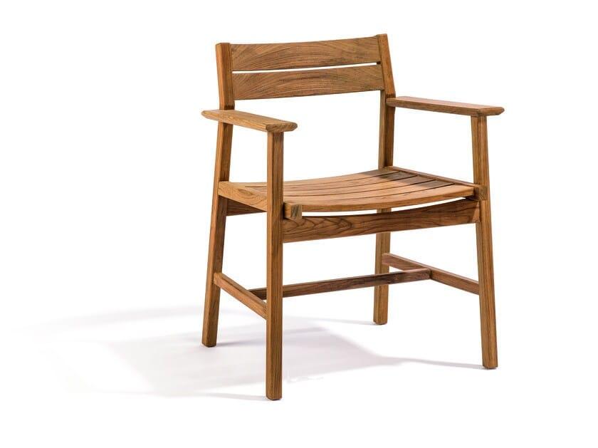 Teak garden chair with armrests DJURÖ | Teak garden chair by Skargaarden