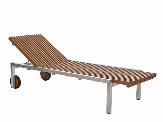 Recliner garden daybed with Casters ADAMAS | Teak garden daybed by Il Giardino di Legno