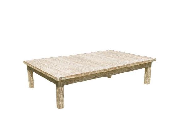 Low Rectangular wooden garden side table WHITE SAND | Rectangular garden side table by Il Giardino di Legno