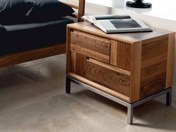 Walnut bedside table with drawers M-118 | Bedside table by Dale Italia