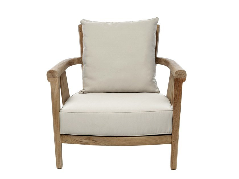 Wooden garden armchair with armrests SAINT LAURENT | Garden armchair by Il Giardino di Legno
