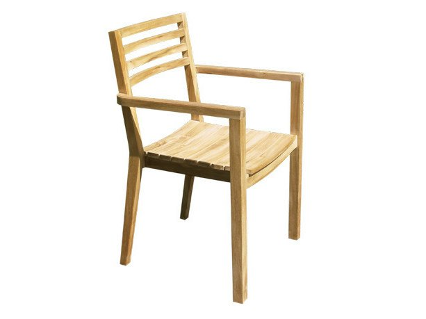 Wooden garden chair with armrests BISTROT | Garden chair with armrests by Il Giardino di Legno